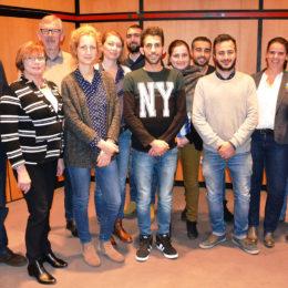 Pressekonferenz mit BaS, Projektpartnern, Geflüchteten und ehrenamtlichen Paten/innen. Foto: Frank Merschhaus