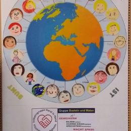 Die Erde ist bunt. Foto: Gemeinde Bietigheim / Kreativkurs für Flüchtlinge und Einheimische